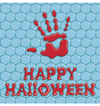 Background with a bloody hand print on the tile vector image