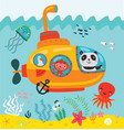 bathyscaphe with animals swimming under water vector image vector image