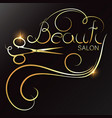 beauty salon golden scissors and lock hair vector image vector image