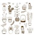 Big hand drawn set of house plants vector image vector image