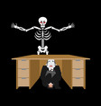 businessman scared under table of skeleton vector image vector image