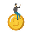 businessman sitting on dollar coin vector image vector image