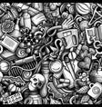 cartoon cute doodles hand drawn medicine seamless vector image vector image