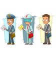 cartoon postman with letter character set vector image vector image