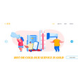 characters in summer time hot period landing page vector image vector image
