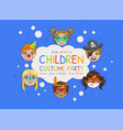 children costume party banner template kids party vector image vector image