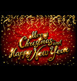 christmas and new year typographical on red vector image