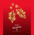 christmas gold star shape holly on red background vector image vector image