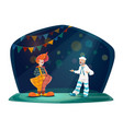 clown and mime artist on circus stage vector image