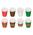Coffee cups isometric vector image vector image