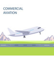 commercial aviation plane takes off vector image vector image