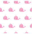 cute background with cartoon pink whales kawaii vector image vector image