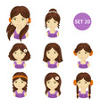 cute brunet little girls with various hair style vector image vector image