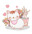 cute cat with plant and flowers leaves vector image vector image