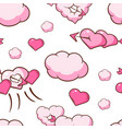 cute pink couds and hearts seamless pattern vector image