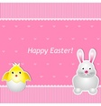 Easter card with chick and hare vector image