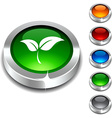Ecology 3d button vector image vector image