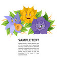 fabled flowers smiling and talking template with vector image vector image