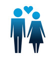 family couple with heart silhouette avatars vector image vector image