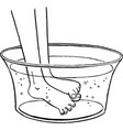 feet in a wash basin scratching each other vector image vector image