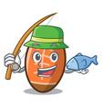 fishing rugby ball mascot cartoon vector image vector image