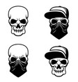 gangster skull with baseball cap and bandana vector image vector image