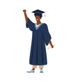 graduated student with diploma young man wearing vector image vector image