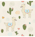 hand drawn seamless pattern with young alpacas vector image vector image