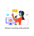 happy female character is recording an audio vector image