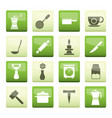 kitchen and household tools icons over green backg vector image vector image
