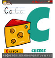 letter c from alphabet with cartoon cheese food
