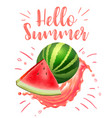 lettering hello summer watermelon print vector image vector image