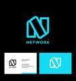 linear n monogram network logo business card vector image vector image