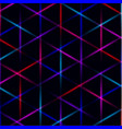 neon triangle vivid laser grid on dark background vector image vector image