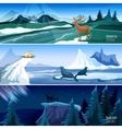 Northern Landscape Flat Banners set vector image