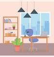 office workplace desk chair laptop lamp bookshelf vector image vector image