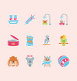 pet shop grooming food vet care icons set vector image vector image