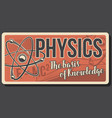 physics poster with atom and molecules vector image vector image