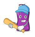 playing baseball shampo character cartoon style vector image