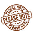 please note brown grunge stamp vector image vector image