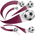 qatar flag set with soccer ball vector image vector image