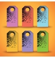 Set of the colorful tags on orange background vector image vector image
