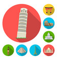 sights of different countries flat icons in set vector image vector image