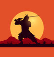 silhouette samurai worrior with sword vector image