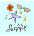 summer beach with lettering star fish sun glasses vector image