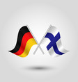 two crossed german and finnish flags vector image vector image