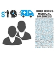Users Icon with 1000 Medical Business Pictograms vector image vector image