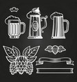 vintage elements for labels - glass of beer ribbon vector image