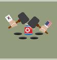 hit the north korean flag vector image