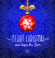 Red Christmas ball with snowy blue background vector image
